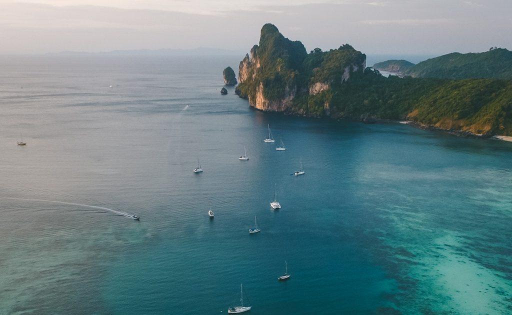 boats near an island