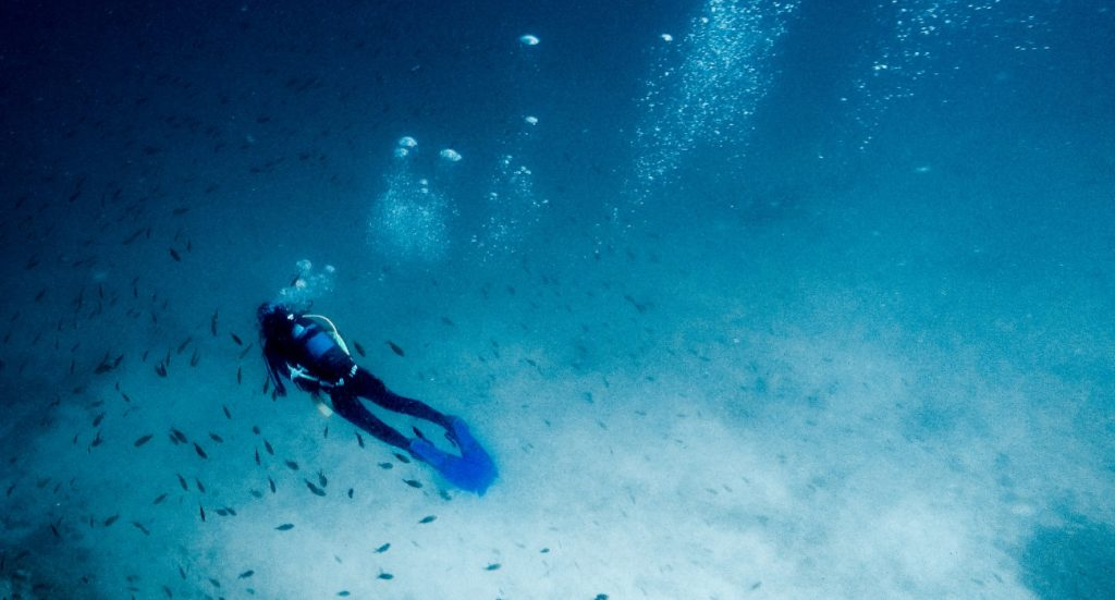 diver diving alone