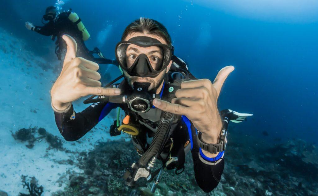 scuba diver enjoying himself